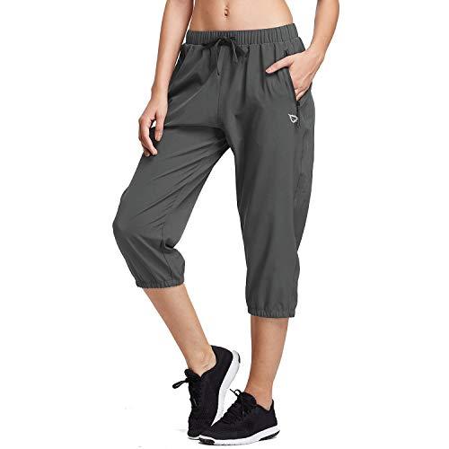 BALEAF Women Lightweight Capri Jogger Hiking Shorts Running Capri Pants Woven Quick Dry Pockets Grey Medium