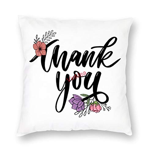 VinMea Decorative Pillow Covers Thank You 2 Cushion Covers for Sofa Bedroom Home Office Decor 20x20 Inch