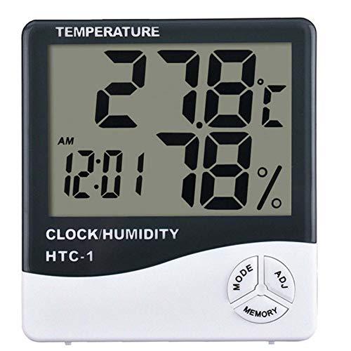 JTOOYS Thermomètre à grand écran pour chambre d'enfant, thermomètre d'intérieur et d'extérieur de haute précision, avec alarme, affichage du calendrier