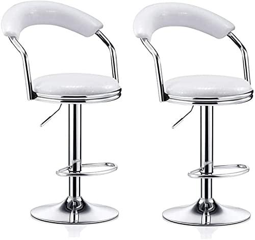 LDGF - Sgabello da bar regolabile in stile moderno, per la colazione, sedia imbottita, sgabello da ristorante, schienale per la casa, sollevabile, girevole a 360 gradi, set di 2 pezzi, colore: bianco