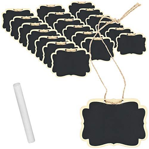 com-four® 20x Mini Holztafel-Set für Kräuter und Zimmer-Pflanzen, Anhänger aus Holz für Namensschild, Preisschild mit Kreide zum Beschriften für Saatgut oder Tisch-Deko (20 Stück - Natur/hänger)