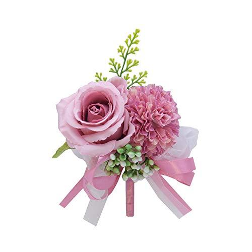 Hopereo Pulsera de flores de seda artificial para novio o boda, color blanco, para hombres, flores de matrimonio, 764