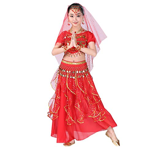 YWLINK Danza del Vientre, NiñAs India Danza del Vientre Danza Egipcia Traje De Rendimiento Conjunto De 2 Piezas Traje De Baile Vestido De Fiesta Bien Parecido(Rojo,9-12 años/L)