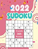 2022 Sudoku: 365 Puzzles 9x9 Sudoku a Day Calendar Of The Year 2022 For Adults, 5 Levels of Difficulty (Easy to Extreme), Pink & Yellow Cover