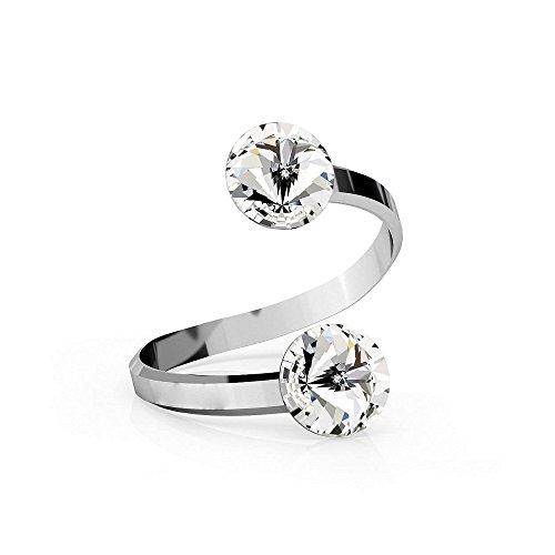 Crystals & Stones *Rivoli* *Varios Colores* Doble Cristal Swarovski Elements - 925 plata anillo - plata de ley mujer anillo tamaño ajustable Pin/75