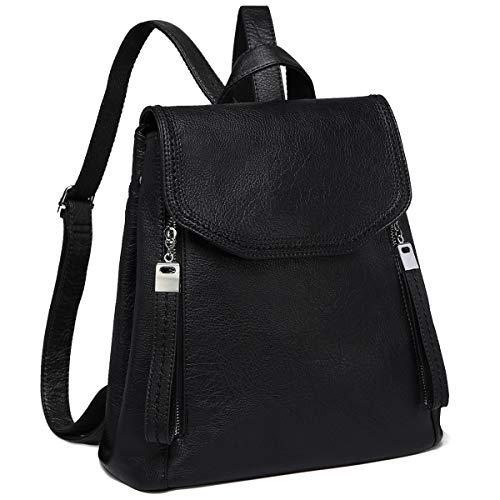 Women Backpack, Kasgo Fashion Waterproof PU Leather Flap Backpack Purse Casual Daypack Elegant Rucksack for Ladies College Girls with Adjustable Straps Black