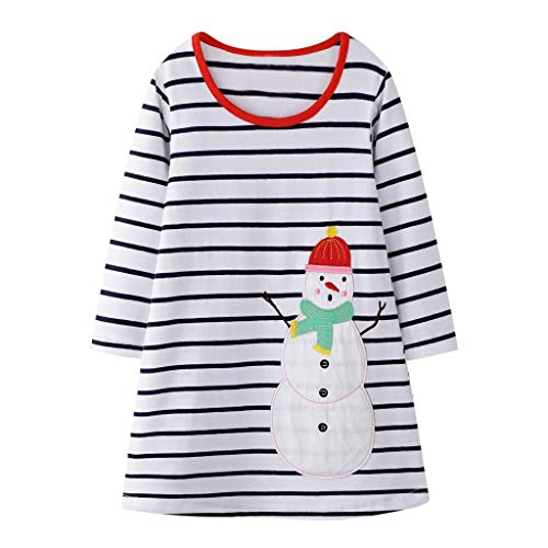 JJsmile Bébé Fille Enfant Robe de Noël Bande dessinée Bonhomme de Neige Stripe Imprimer Robe à Manches Longues Convient pour 2-8 Ans, Robe de Princesse à Manches Longues Hiver, Robe de soirée de Noël