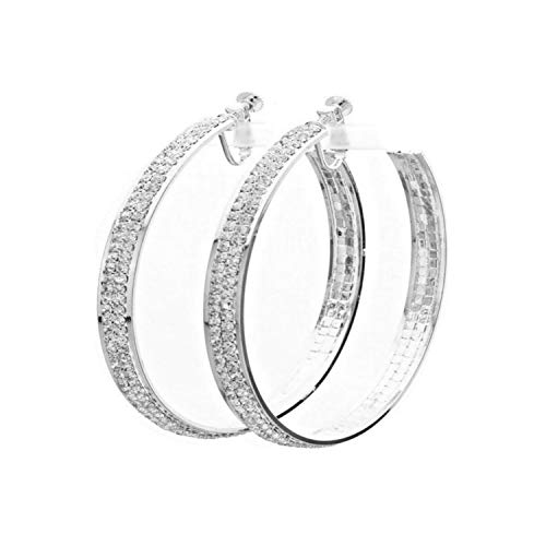 Schmuckanthony Hoernel - Pendientes de aro de plata con cristales transparentes, 5 cm de diámetro