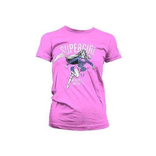 Supergirl - Metropolis University distressed dames T-shirt roze - Superhelden merchandise strips