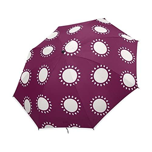 NC Paraguas Plegable Compacto, Lunares morados, Paraguas de Lluvia de Viaje fácil...