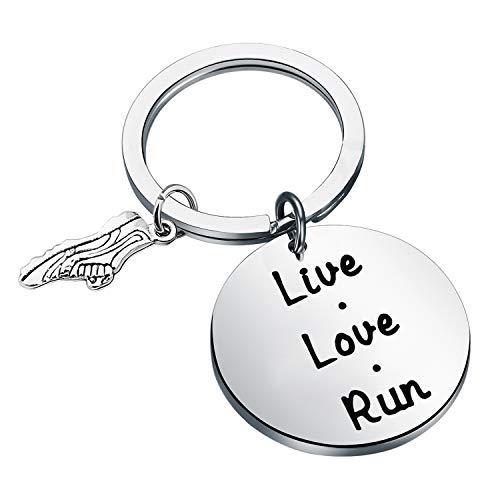 FEELMEM Runner Keychain Marathon Gift Live Love Run Keychain with Running Shoe Charm Running Jewelry Track Gift for Runner Lover or Coaches (Silver)