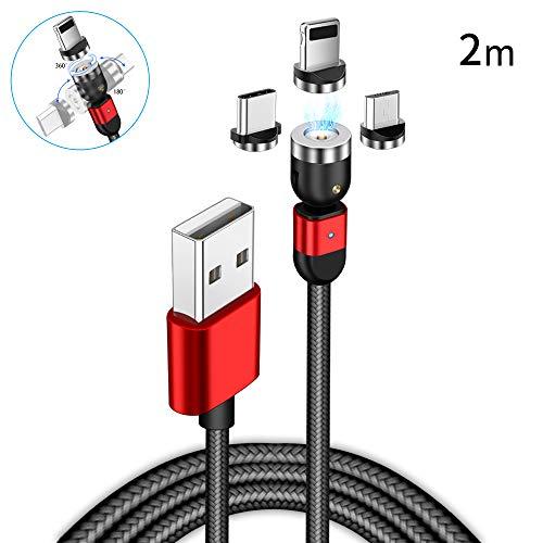 AMZLIFE Magnetisches Ladekabel 3 in 1 Magnet USB Kabel,360°&180°Rotierendes Ladekabel 2.4A Nylon Geflochtenes Drehmagnetkabel für i-Produkt/Micro USB/Type C/Samsung/Huawei/Tablets/Sony/Xiaomi/Mehr