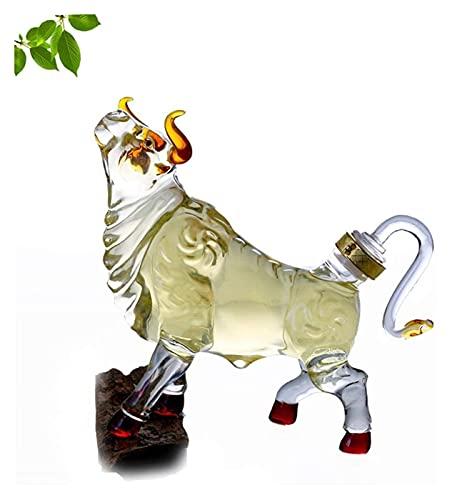 JIUYUE Whisky Decanter Vino Decantador Animal Whisky Decanter Bull Modeling - Alto Vidrio de borosilicato para Licor de Vodka escocés o Vino Licorera (Size : 1500ml)