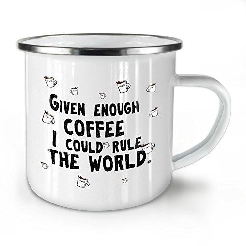 Wellcoda Kaffee Regeln Emaille-Becher, motivational - 10 Unzen-Tasse - Kräftiger, griffiger Griff, Zweiseitiger Druck, Ideal für Camping und Outdoor