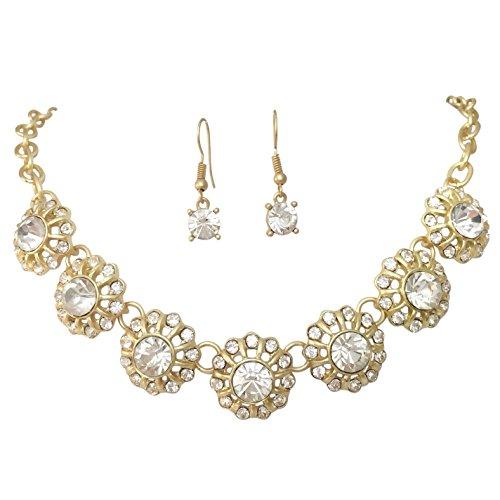 7flores lunares Rhinestone mate oro tono Boutique estilo declaración collar pendientes set