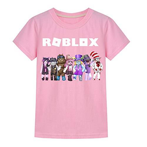 Roblox Camiseta Camiseta Estampada de Manga Corta for niños Camiseta Polo for niños Camiseta clásica con Cuello Redondo en Mezcla de algodón niños y niñas