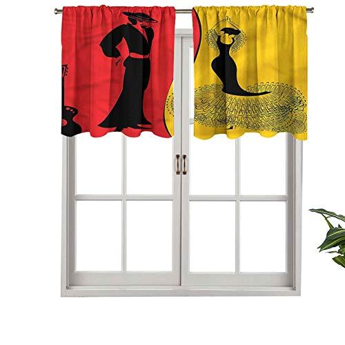 Hiiiman Cenefa extra corta con aislamiento térmico, cortinas para ventana, bailarines españoles, baile flamenco, juego de 2, paneles decorativos para el hogar de 137 x 61 cm