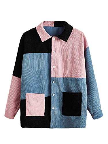 ROMWE Women's Colorblock Collar Button Down Corduroy Casual Jacket Outwear with Pockets Multicolor#A M