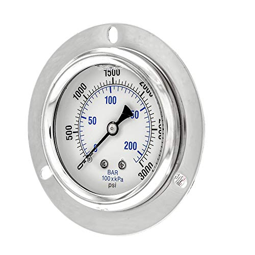 PIC Gauge PRO-204L-254P Glycerin Filled Industrial Front Flanged Panel Mount Pressure Gauge with Stainless Steel Case, Brass Internals, Plastic Lens, 2-1/2