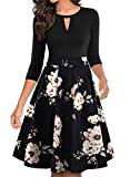 YATHON Women's Elegant Khaki Flower Black Casual Party Cocktail Swing Dress Retro Cute Flare V-Notch Three Quarter Sleeve Swing A Line Church Dresses (XL, YT018-Black Khaki 02-3/4)