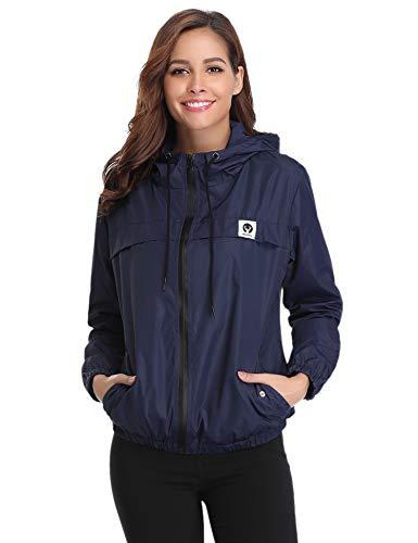 Abollria Damen Regenjacke Leichte Kurze Jacke mit Atmungsaktiv Futter Herbst wasserdichte Übergangjacken mit Kapuze