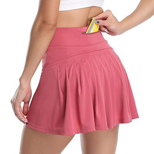 WOWENY Mujer Deportivo Corto Falda Plisada A-Line Mini Skorts de Tenis Golf con Bolsillos Interiores para Shorts,Vestido de Playa para Mujer (Z-Rosa, S)