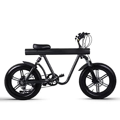 HMEI Bicicleta eléctrica para Hombre, neumático Gordo, Bicicletas eléctricas de montaña de 20 Pulgadas para Adultos, Motor de Alta Velocidad de 750 w, batería de Litio de 48v, Bicicleta eléctrica