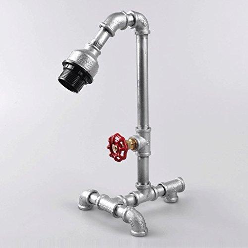 LOFAMI Style industriel Punk Iron Water Pipe Led Lamp, Simple Living Bar Lampadaire décoration de chambre, argenté, e27 (Color : Dimmer switch)