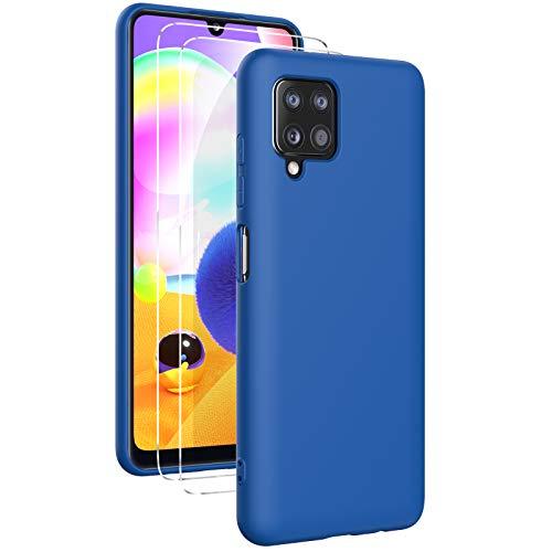 Oududianzi- Cover per Samsung Galaxy A12 Custodia Morbida in Silicone Liquido + [2 Pack Pellicola Protettiva Vetro Temperato ], Cover Tinta Unita Ultrasottile e Antiurto Gomma Case - Blu