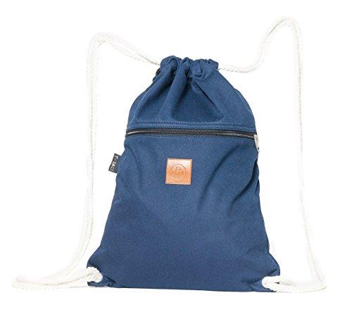 T-BAGS Thailand Baumwoll Turnbeutel Hipster - mit Reißverschluss - 24 Designs – Hochwertiger Beutel, Rucksack, Gym-Bag mit verstellbaren Kordeln (Dunkelblau)