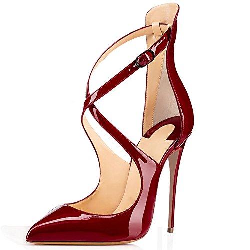 elashe Damen Knöchelriemchen Pumps,Spitze Zehen Stiletto Hohe Absatz Schuhe mit Schnallechzeit Schuhe Wine EU45
