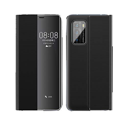 Aloug Huawei P40 Pro Hülle, Mirror Smart View [Intelligente Wake up-/Sleep] Flip Cover Handyhüllen Leder Flip Cover Schutzhülle für Huawei P40 Pro (Schwarz)