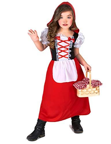 KULTFAKTOR GmbH Rotkäppchen Märchenkostüm für Kinder rot-Weiss-schwarz 134/140 (10-12 Jahre)