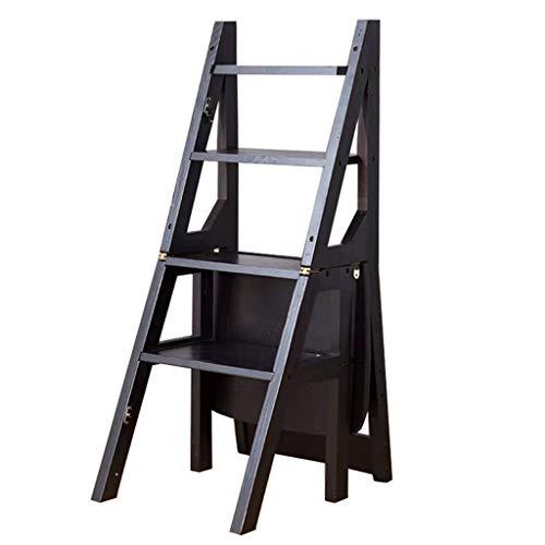4-laags ladderframe, eenzijdig houten trapladder multifunctionele stoel slaapzaal/bureaustoel kinderkamer houten stoel 37 * 46 * 90CM Zwart