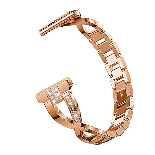 RuenTech 22mm Metal Strap Compatible with Fossil Gen 5 Julianna,Q Wander/Founder/Marshal/Gen 4 Explorist HR Replacement Bands (Rose Gold)