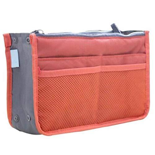 #N/A Rinclhu Double Zipper Bag Portable Bag Multi Compartiments Mesh Pockets Travel Cosmetic Organizer,Orange,comme la Description