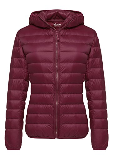 Wantdo Damen Daunenjacken Winter Winddichte Warm Mäntel Packable Leichte Jacken Isolierte Puffermantel Outdoot Jacke Kapuze Slim Fit Jacken Rot S