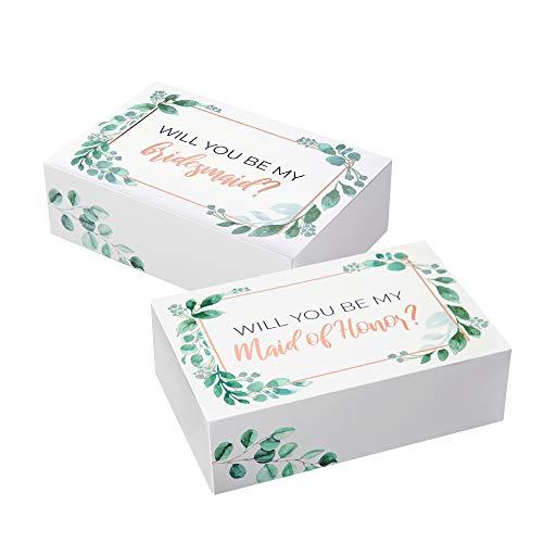 Bridesmaid Proposal Box Set I 10 Pack I 1 Maid of Honor Proposal Box and 9 Will You be My Bridesmaid Boxes I Greenery with Rose Gold Foil Bridesmaid Box for Bridesmaid Gifts
