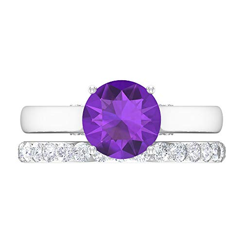 Rosec Jewels 14 quilates oro blanco redonda Round Brilliant violeta Amethyst Moissanite