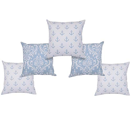 Amazon Brand-Umi. Set of 5   Cotton Printed Cushion Covers   Throw Pillowcases   45x45cm   Sofa, Bed, Couch, Living Room, Bedroom   Pearl Blue-2