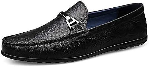 EGS-schuhe Driving Loafer für Herren Boat Moccasins Slip On Style OX Leder Modische Metaldecor Decor Low Top Round Toe,Grille Schuhe (Farbe   Schwarz Größe   41 EU)