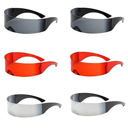 6 par futuristiska sköldsolglasögon speglade cyklops glasögon nyhet kostymaccessoarer för barn och vuxna