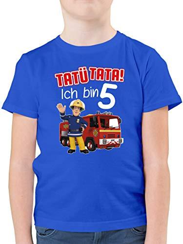 Feuerwehrmann Sam Jungen - Tatü Tata! Ich Bin 5 - rot - 116 (5/6 Jahre) - Royalblau - Statement - F130K - Kinder Tshirts und T-Shirt für Jungen