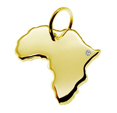 Kettenanhänger in der Form von der Landkarte Afrika mit Brillant 0,015ct an Ihrem Wunschort in massiv 585 Gelbgold