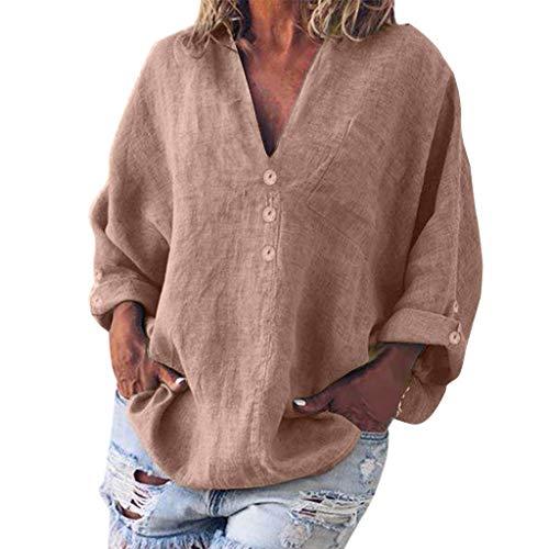 MRULIC Damen Leinenbluse Elegant Langarm Freizeit Oberteil Lose Langarmshirt Tunika Hemd mit Taschen Leinenhemd für Damen Casual Basic Bluse mit Taschen Loose Top