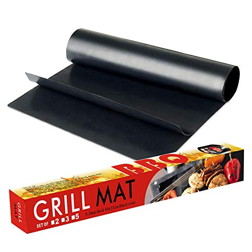 VOVCIG Grill Mat,Set of 2 Heavy Duty BBQ Grill Mats Non Stick, BBQ Grill & Baking Mats,Reusable Grill Mat, Easy to Clean Barbecue Grilling Accessories, Grill Mat for Work on Gas Charcoal Electric