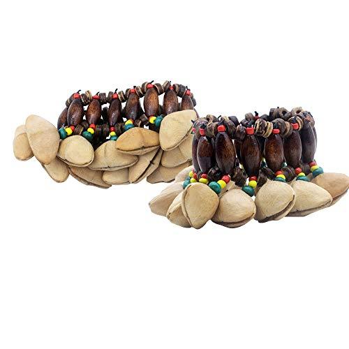 Mowind - Juego de 2 pulseras de estilo tribal africano para percusión