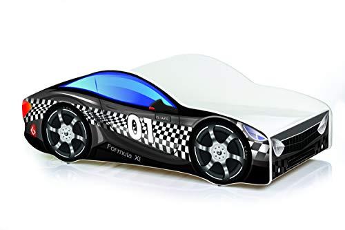 Cama infantil coche de carreras + somier (barandas) + colchón de espuma con cubierta 140x70 cm 160x80 cm 180x80 cm (160x80 cm (untill 8 jears), 12.Black)