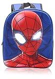 Marvel Spiderman Mochilas Escolares para Niños, Mochila Escolar Diseño 3D con Ojos Que se Iluminan, Mochila Infantil para Colegio Deporte, Regalos para Niños