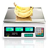 88LB 40KG Electronic Price Computing Scale | Digital Deli Food Produce Weight Scales Counting Equipment with LCD Display for Retail Outlet Store, Kitchen, Restaurant, Food, Meat, Fruit (White)